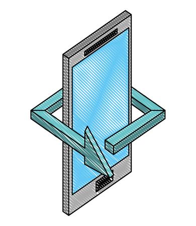 smartphone device arrow 360 degree vector illustration drawing