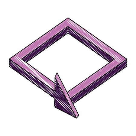 3d arrow square direction virtual reality vector illustration drawing Иллюстрация