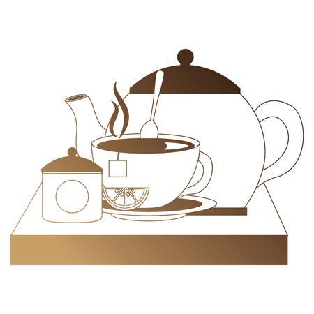 teapot with teacup and slice lemon spoon on wooden tray vector illustration Stock Illustratie
