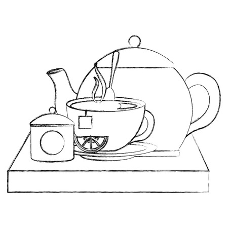 teapot with teacup and slice lemon spoon on wooden tray vector illustration sketch Stock Illustratie