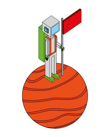astronaut holding flag on the planet vector illustration isometric Illustration