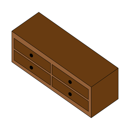 wooden furniture cabinet drawers decoration vector illustration isometric