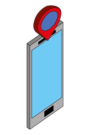 smartphone device gps pointer location vector illustration isometric Çizim
