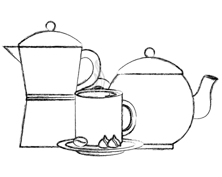 coffee maker and teapot cup and cocoa nuts chocolate vector illustration sketch