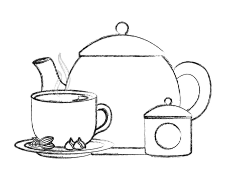 teapot and tea cup cocoa nuts and sugar pot vector illustration sketch