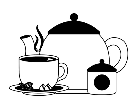 teapot and tea cup cocoa nuts and sugar pot vector illustration