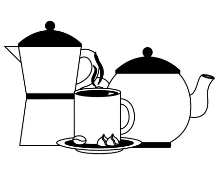 coffee maker and teapot cup and cocoa nuts chocolate vector illustration