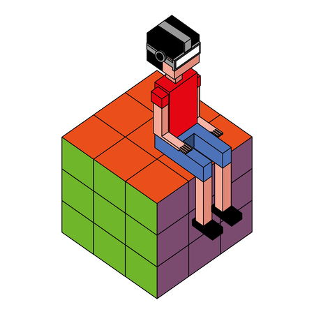 boy using vr glasses sitting in cube vector illustration isometric Illustration