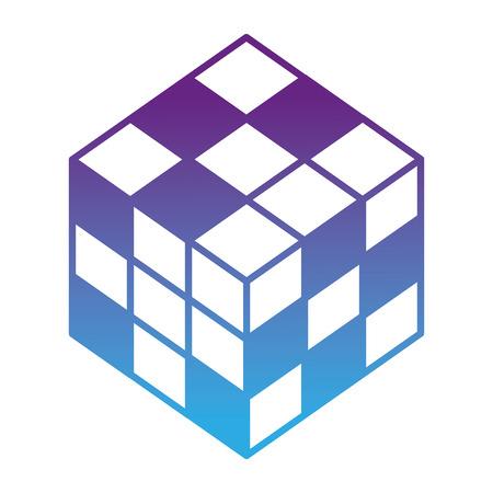 3d cube game toy image vector illustration neon design Illustration