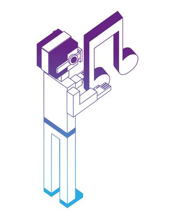 man using vr glasses with hologram musical note vector illustration neon design  イラスト・ベクター素材