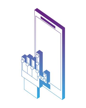 wired glove digital touching display smartphone vector illustration neon design