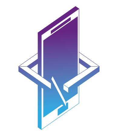 smartphone device arrow 360 degree vector illustration neon design 版權商用圖片 - 102973792