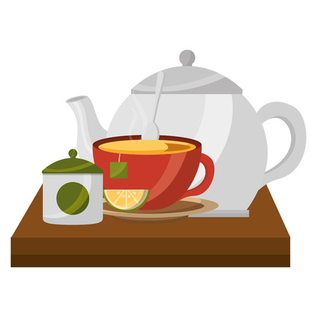 teapot with teacup and slice lemon spoon on wooden tray vector illustration Illustration