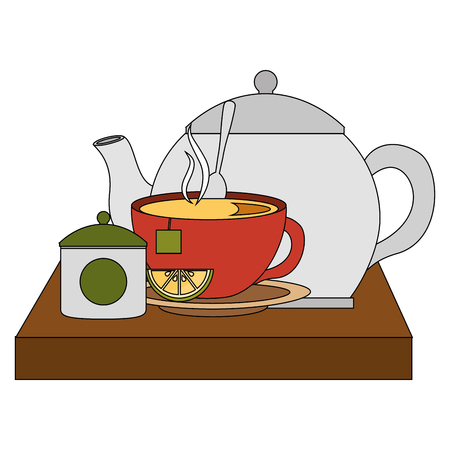 teapot with teacup and slice lemon spoon on wooden tray vector illustration Stock Vector - 102973863