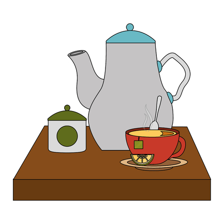 kettle teapot teacup sugar lemon spoon vector illustration