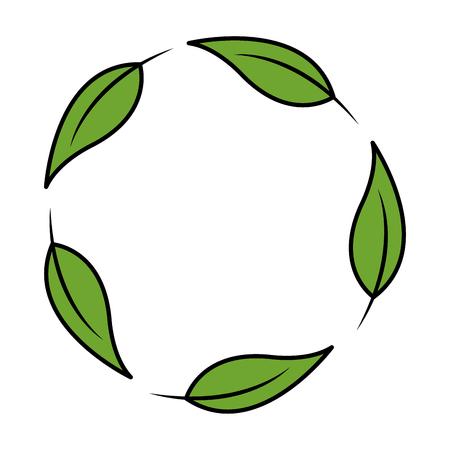 leaves in circle botanical herb natural vector illustration