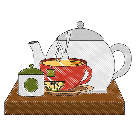 teapot with teacup and slice lemon spoon on wooden tray vector illustration 向量圖像