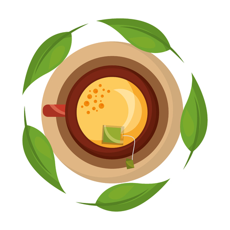 top view tea cup with teabag and mint leaves vector illustration