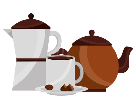 coffee maker and teapot cup and cocoa nuts chocolate vector illustration Foto de archivo - 102973891