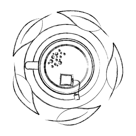 top view tea cup with teabag and mint leaves vector illustration sketch