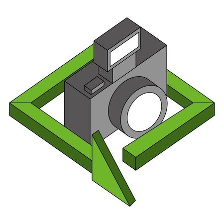 photograhic camera gadget 360 degree 3d vector illustration isometric