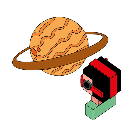 boy using vr goggles watching planet 3d vector illustration isometric