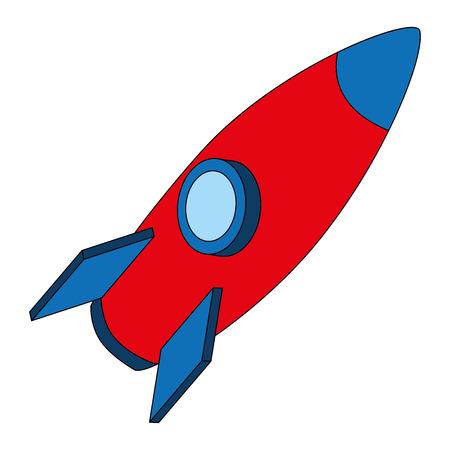 rocket space ship travel cartoon vector illustration isometric