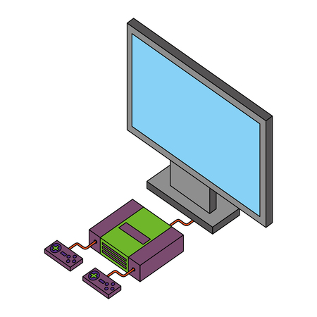 game  console and controllers computer connected vector illustration isometric