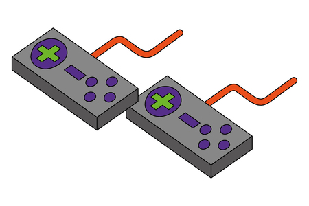 controllers for video game console vector illustration isometric