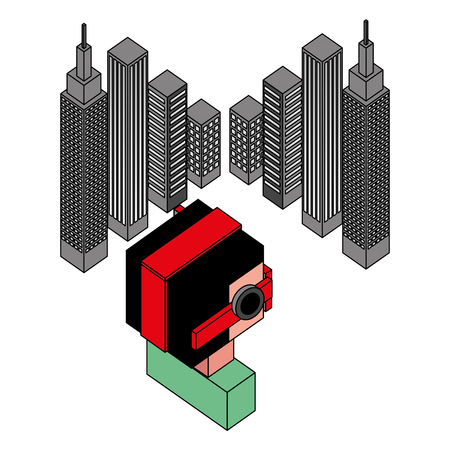boy using vr goggles watching 3d city buildings vector illustration isometric  イラスト・ベクター素材