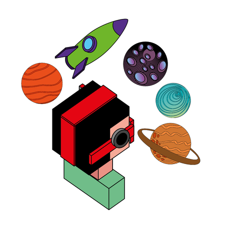boy using vr goggles looking 3d planets and rocket vector illustration isometric