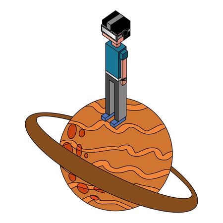 boy using vr goggles standing on game planet vector illustration isometric