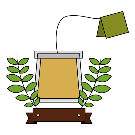tea bag and fresh branch leaves mint vector illustration