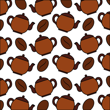 coffee maker and beans coffee pattern design vector illustration