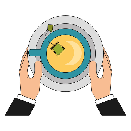 hand holding tea cup teabag with dish vector illustration