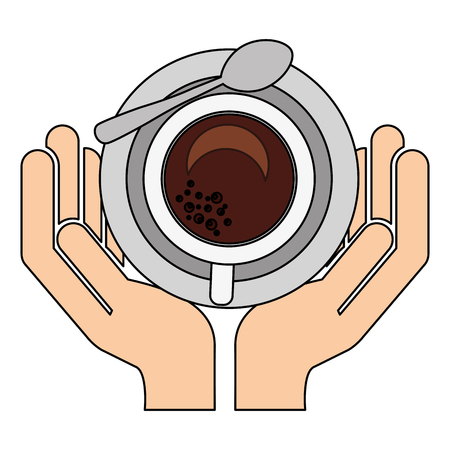 hand holding coffee cup with spoon on dish vector illustration Çizim