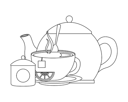 teapot cup spoon and bowl sugar lemon vector illustration outline