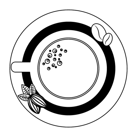 top view coffee cup and bean nuts cocoa on saucer vector illustration outline
