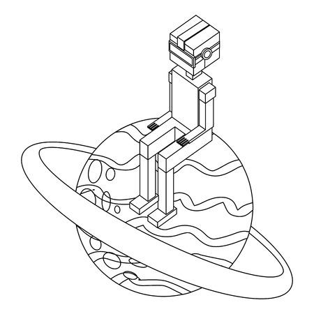 boy using vr goggles sitting on 3d planet vector illustration outline