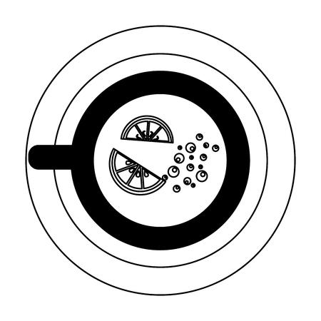 top view tea cup sliced lemon on dish vector illustration outline