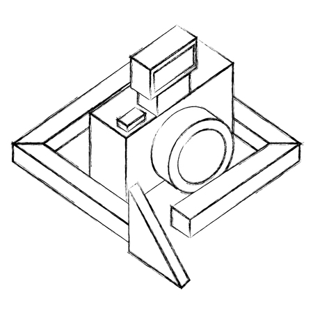 photograhic camera gadget 360 degree 3d vector illustration sketch