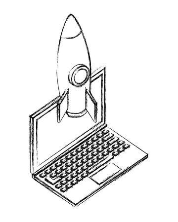 laptop computer rocket launch startup vector illustration sketch Archivio Fotografico - 102974099