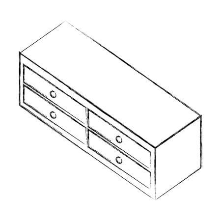 wooden furniture cabinet drawers decoration vector illustration sketch Ilustração