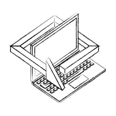 laptop computer technology 360 degree arrow vector illustration sketch Standard-Bild - 102974105
