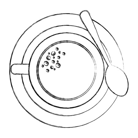 top view coffee cup on dish with spoon vector illustration sketch Foto de archivo - 102974137