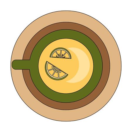top view tea cup sliced lemon on dish vector illustration Illustration
