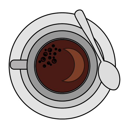 top view coffee cup on dish with spoon vector illustration