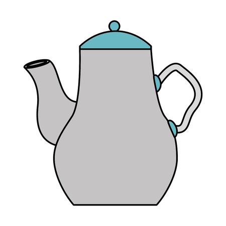 ceramic tea pot handle utensil kitchen vector illustration Çizim
