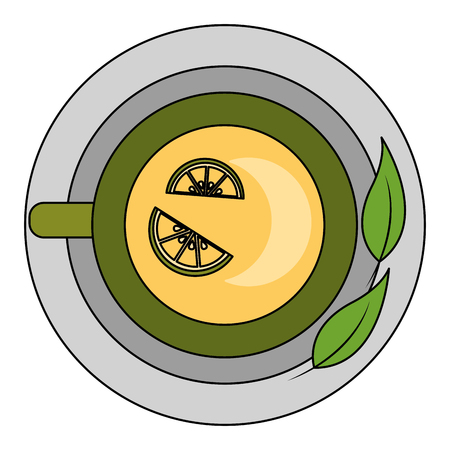 top view tea cup mint leaves on dish vector illustration