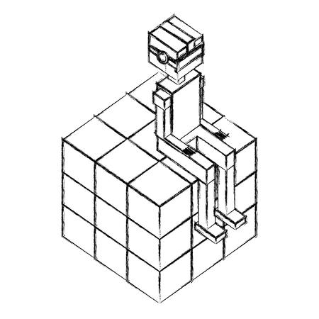 boy using vr glasses sitting in cube vector illustration sketch Illustration
